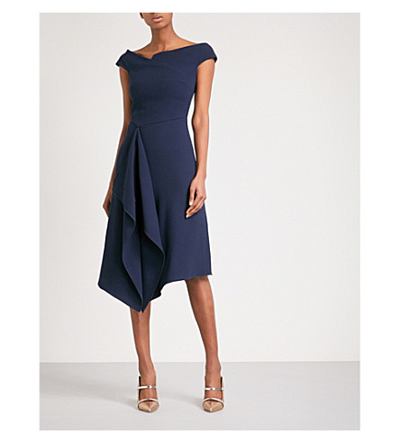Roland Mouret Barwick Fit And Flare Wool Crepe Dress