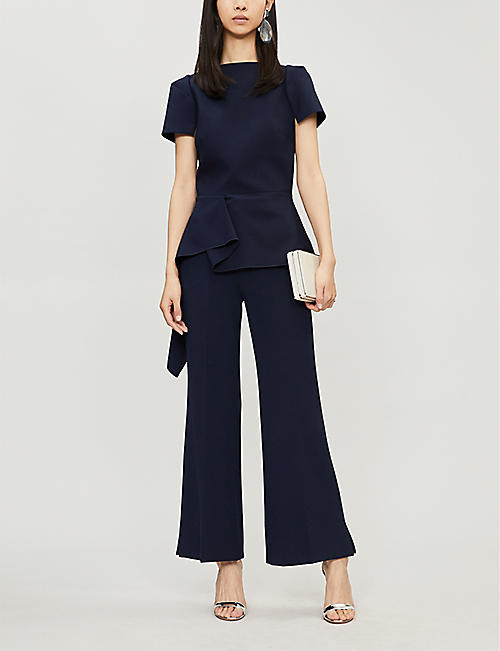 ROLAND MOURET Dilman flared high-rise crepe cropped trousers