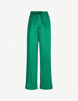 ROLAND MOURET Perkins wide-leg high-rise stretch-silk trousers