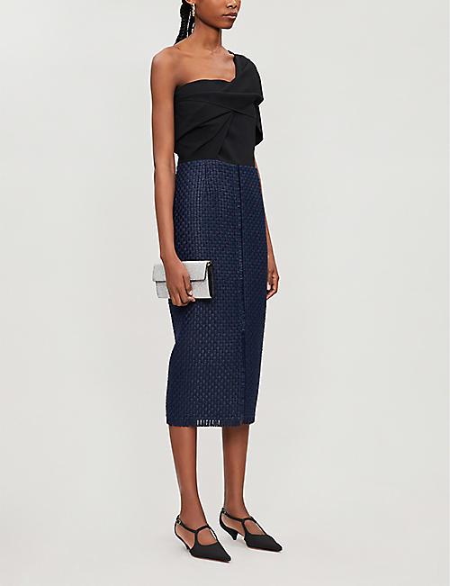 a9cd950063d ROLAND MOURET Morita one-shoulder wool-crepe dress