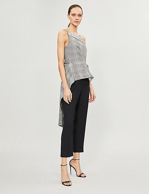 ROLAND MOURET Caplan checked wool-blend top