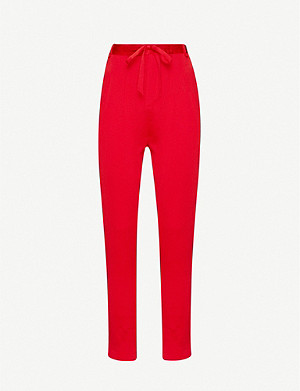 ROLAND MOURET Biltmore mid-rise silk-satin tapered trousers