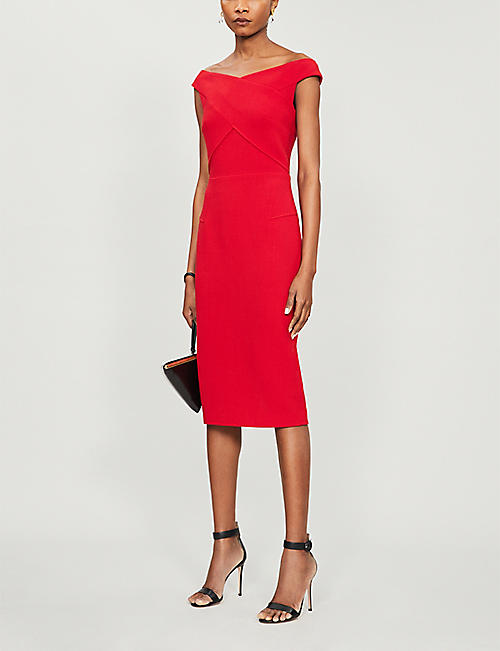 ROLAND MOURET Amarula off-the-shoulder wool midi dress