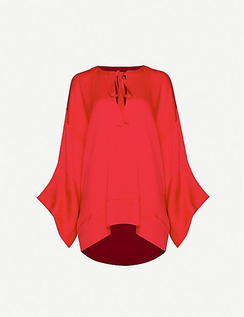 ROLAND MOURET Ciro flared silk-satin blouse