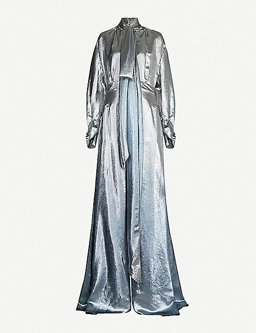 ROLAND MOURET Osprey ombre metallic silk-blend maxi dress