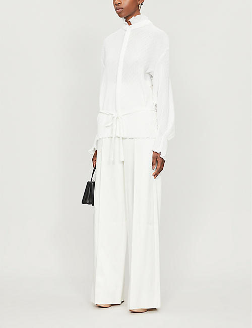 ROLAND MOURET Sparrow frilled-hem pleat-pattern crepe shirt