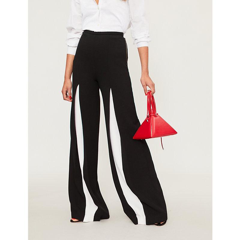 Burton Wide-Leg Wool-Crepe Palazzo Trousers, Blk/White