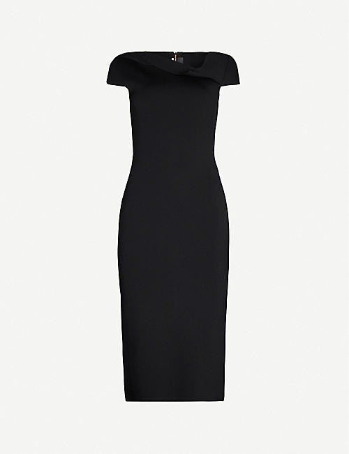 ROLAND MOURET Keel folded-neck crepe midi dress