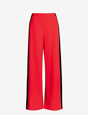 ROLAND MOURET Cumberland high-rise side-stripe wool wide-leg trousers