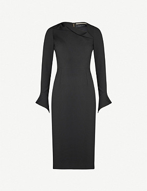 ROLAND MOURET Liman folded-neck flared-cuff crepe midi dress
