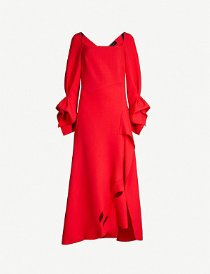 ROLAND MOURET Trinity wool-crepe midi dress