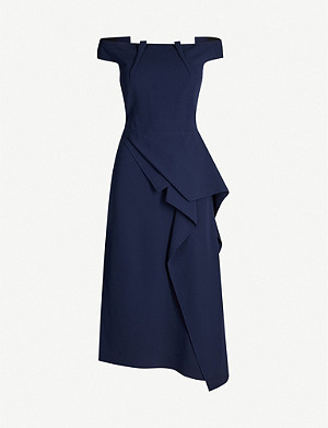 ROLAND MOURET Arch off-the-shoulder pleated crepe dress