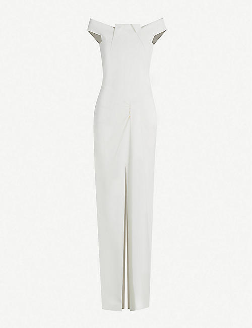 10925353bc7 ROLAND MOURET Deauville off-the-shoulder gathered stretch-ponté gown