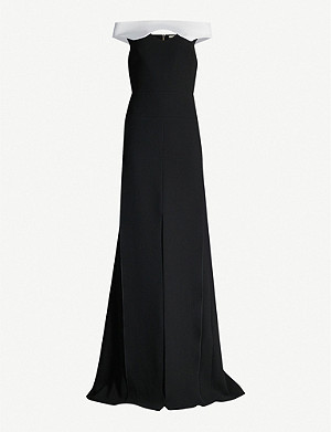 ROLAND MOURET Elly contrasting off-the-shoulder crepe gown