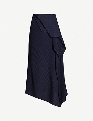 ROLAND MOURET Courtown ruffled silk-jacquard midi skirt