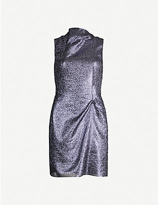 ROLAND MOURET: Zonda metallic crepe mini dress