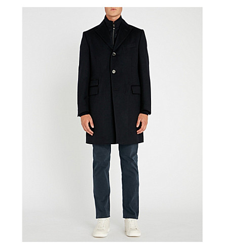 CORNELIANI Mens Navy Identity Wool Overcoat