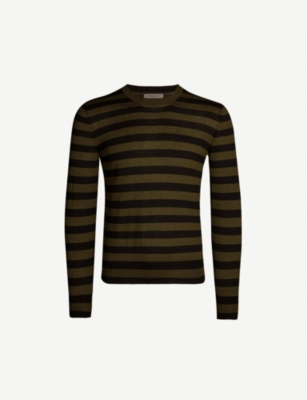 CORNELIANI Striped cashmere and silk-blend top