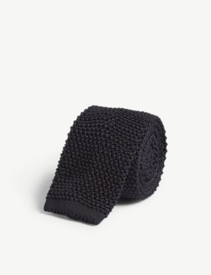 CORNELIANI Squared-off knitted silk tie