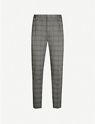 CORNELIANI: Checked tapered wool and cotton-blend trousers