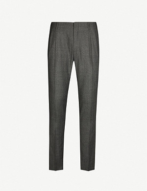 CORNELIANI Herringbone slim-fit wool trousers