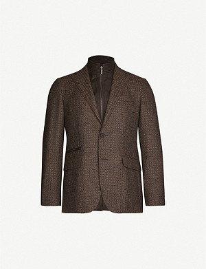 CORNELIANI Checked slim-fit wool, cotton and cashmere-blend blazer