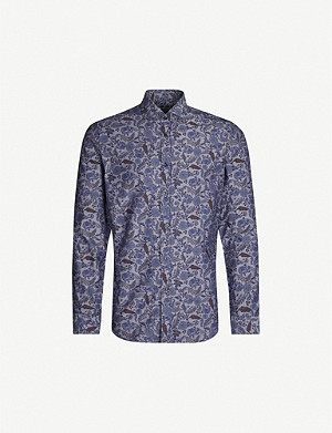 CORNELIANI Floral-print tailored-fit cotton-twill shirt
