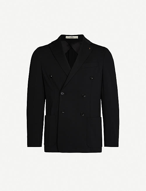 CORNELIANI Double-breasted wool and cotton-blend jacket