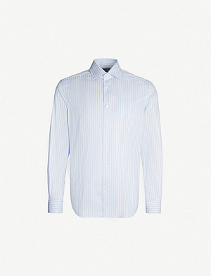 CORNELIANI Striped slim-fit cotton-blend shirt