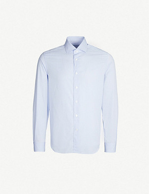 CORNELIANI Checked slim-fit cotton shirt