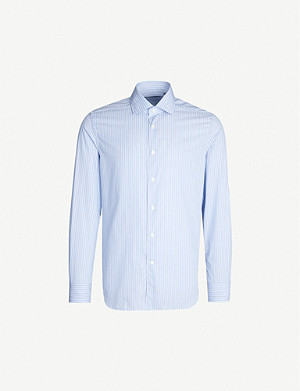 CORNELIANI Striped slim-fit cotton shirt