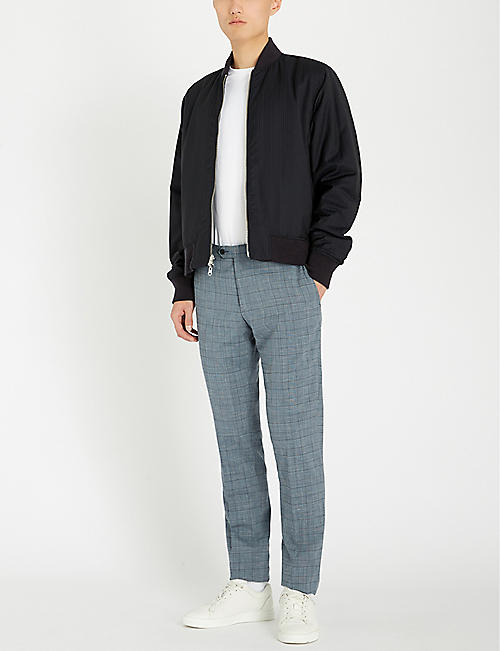 CORNELIANI Checked regular-fit straight wool-blend trousers