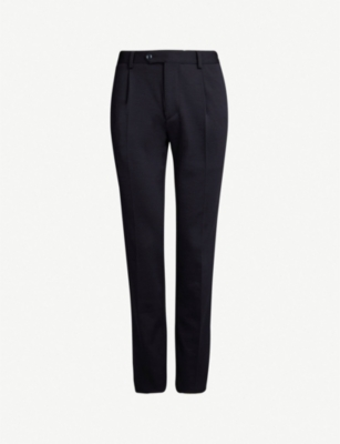 CORNELIANI Slim-fit tapered wool and cotton-blend trousers