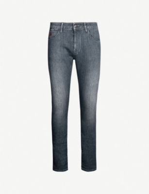 CORNELIANI Logo-embroidered slim-fit tapered jeans