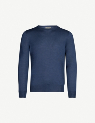 CORNELIANI Crewneck wool, silk and cashmere-blend top