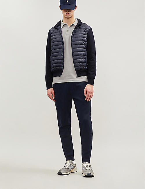 CORNELIANI Padded shell and knitted-cotton hooded jacket
