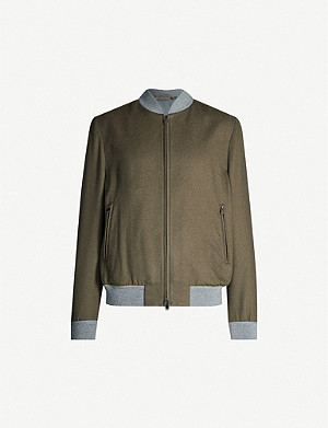 CORNELIANI Colour-blocked cashmere and silk-blend jacket