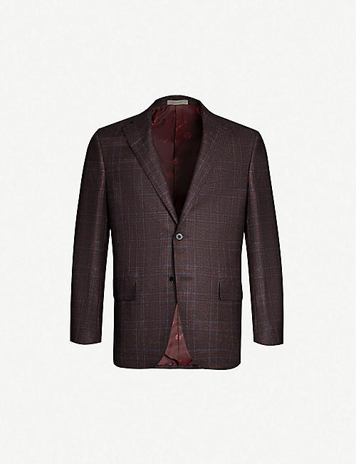 bbeb7f437 CORNELIANI Checked regular-fit wool, cashmere and silk-blend blazer