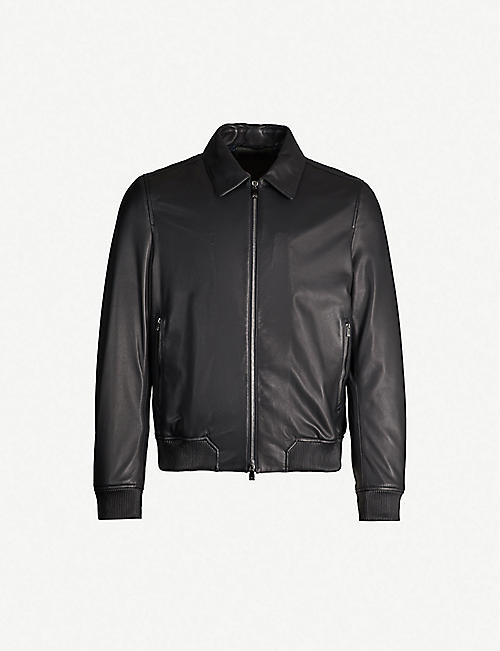 CORNELIANI Collared leather bomber jacket