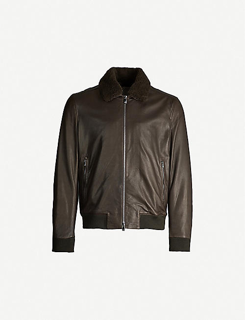 CORNELIANI Shearling collar leather jacket