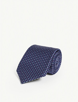 CORNELIANI Geometric dot print silk tie