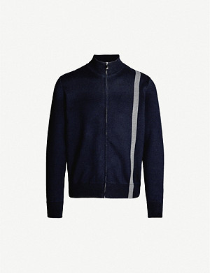 CORNELIANI Striped zip-through knitted cardigan