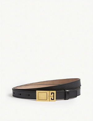 GIVENCHY Logo skinny leather belt