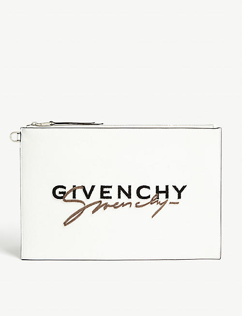 GIVENCHY Logo print leather pouch bag