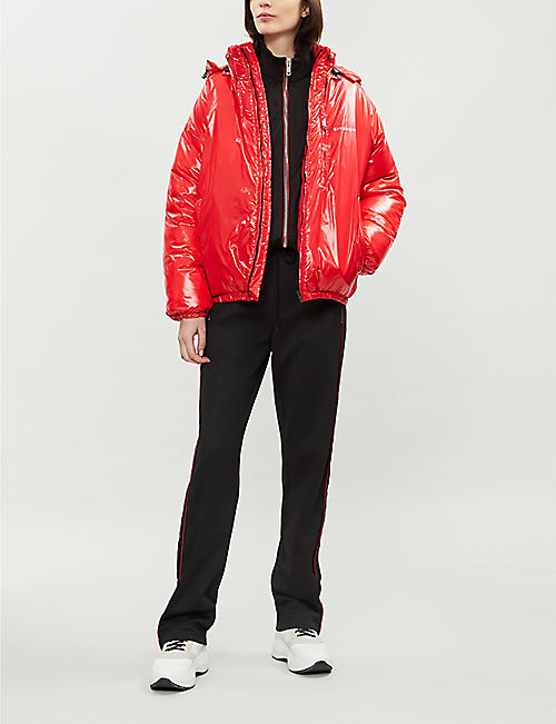 GIVENCHY High-shine logo-print shell hooded puffer jacket