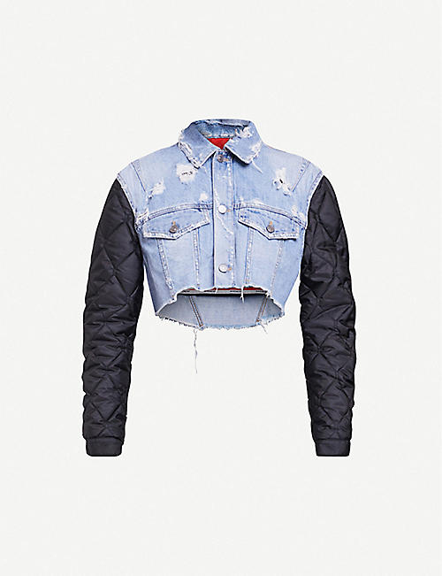 GIVENCHY: Quilted shell-panelled denim jacket