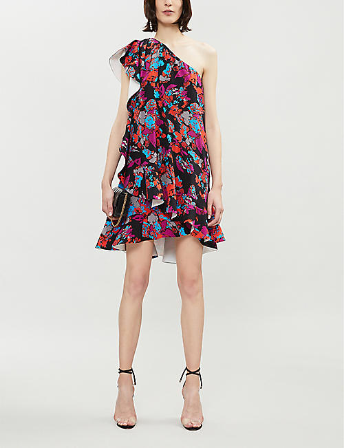 GIVENCHY Asymmetric floral-print silk-crepe mini dress