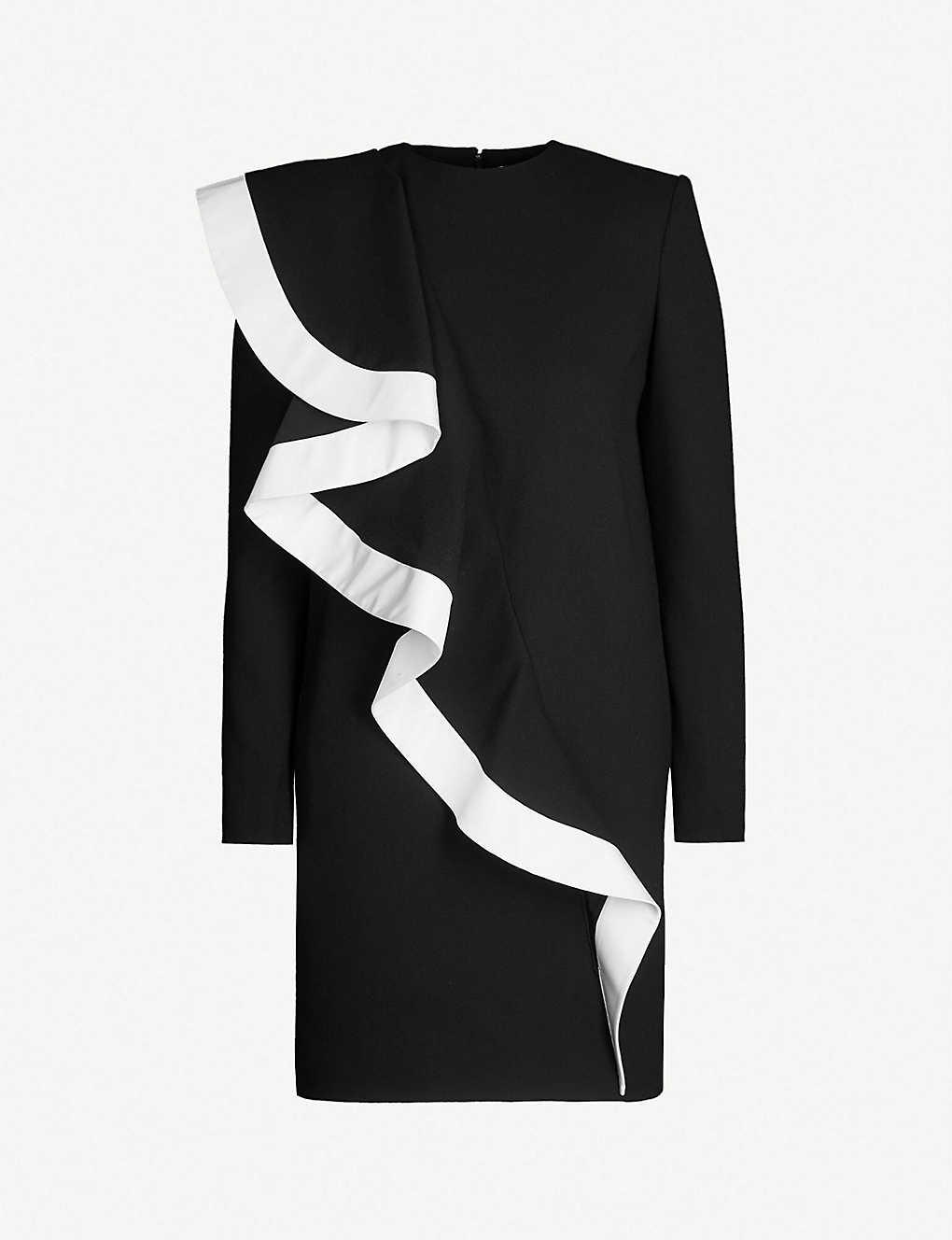 Givenchy Dress Contrast-ruffle wool-crepe dress