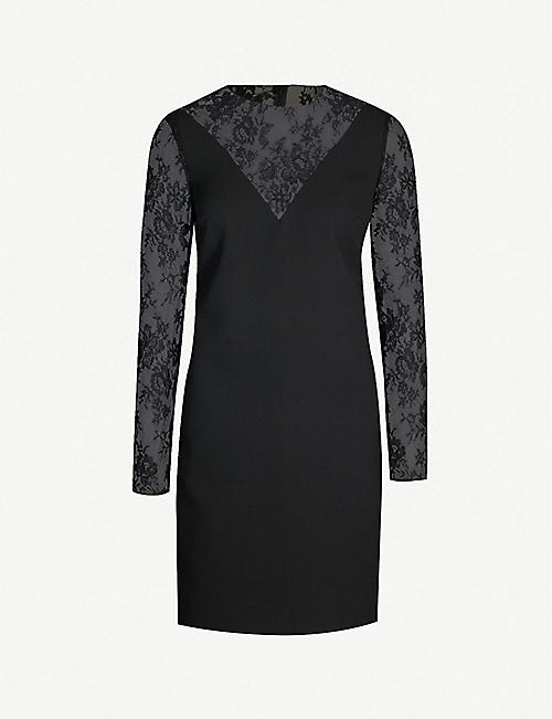 2c7fd4ad2c73a6 GIVENCHY Lace-trimmed wool-crepe dress