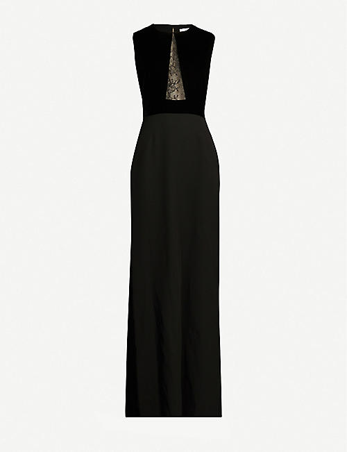 GIVENCHY Lace-panelled velvet and crepe gown